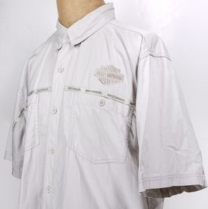 Harley Davidson Mens  button down Tan Shirt